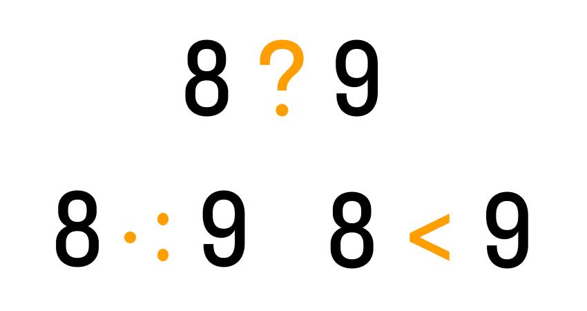 3 (=,>, <) 3