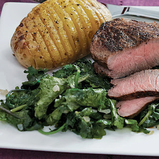 Pan-Fried Steak with Hasselback Potatoes & Kale