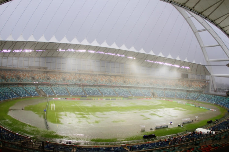 A file photo of the general view of the waterlogged Moses Mabhida Stadium pitch in Durban during the Nedbank Cup Last 32 match between AmaZulu and Ajax Cape Town on March 11, 2012. Durban has been ravaged by storms and rain this and the Premier Soccer League has assured that the pitch will be playable for the MTN8 final between Cape Town City and SuperSport United on Saturday 14 October 2017.