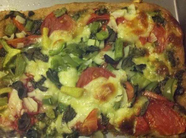 Pizza - Pesto, Basil, Onion, Green Pepper, Garlic, And Garden Fresh Tomatoes Recipe