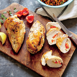Basil, Feta, and Quinoa Stuffed Chicken Breasts.