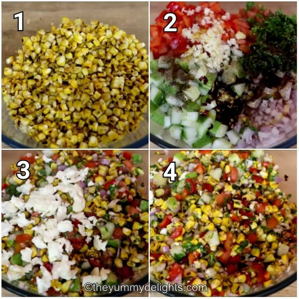 step by step image collage of making the grilled corn salad with Feta cheese