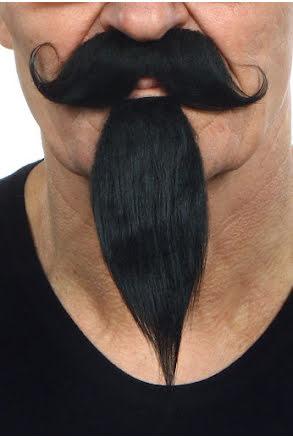 Mustasch med skägg Musketör, svart