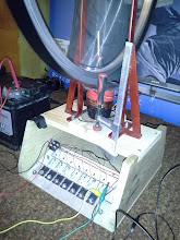 Photo: Coil stand is done. You better don't want to know the distance between the magnets and the clamp :-P