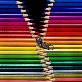 Unzipping Colors by Jon Raho - Artistic Objects Other Objects ( abstract, colors, fine art abstract, fine art, photography, pencils )