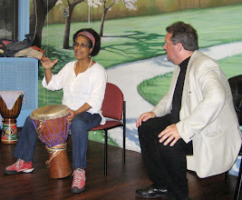 Photo: Percussionist Gabriella Dennery answers questions from host Gary Glazner.