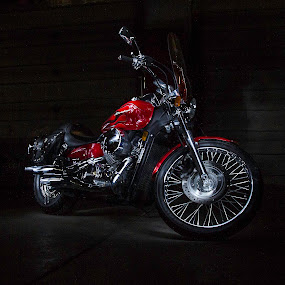 The Brothers Shadow by Jamie Rabold - Transportation Motorcycles ( red, bike, light painting, honda, shadow, chrome, dark, motorcycle )