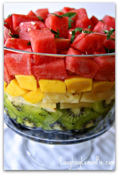 Photo: Rainbow fruit salad with lemon balm and whipped coconut creamhttp://laughinglemonpie.com/recipe-rainbow-fruit-salad-with-lemon-balm-syrup-and-coconut-whipped-cream/