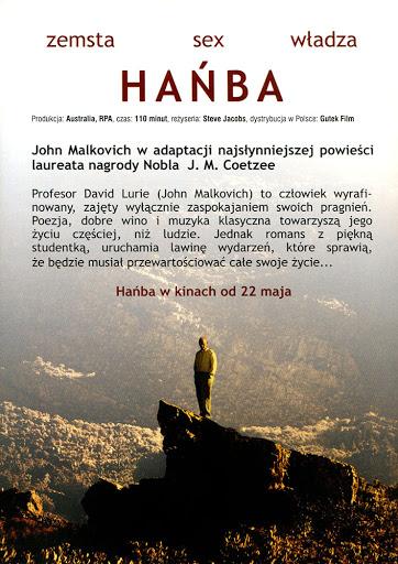 Tył ulotki filmu 'Hańba'