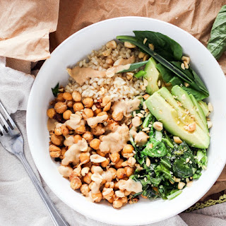 Spicy Peanut Chickpea Bowls with Sesame Greens.