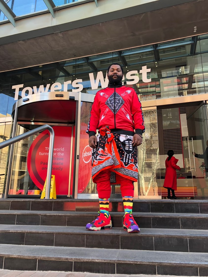 Sjava wearing Future Socks by Thabo Motsoane.