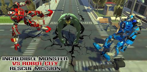 Increíble monstruo VS Robot City Rescue Mission Mod Apk 1.4 (Unlocked)
