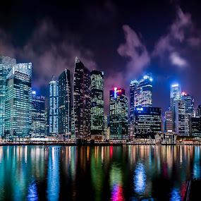 Singapore Business District @ Night by Edward Adios - City,  Street & Park  Vistas