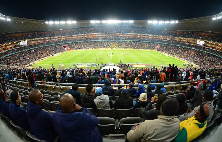 General view of the Stadium during the 2018 Mandela Centenary Cup Friendly match between Mamelodi Sundowns and Barcelona at FNB Stadium, Johannesburg on 16 May 2018.