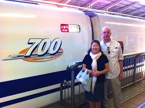 Photo: Getting on board the Shinkansen (Bullet train) to Kyoto.