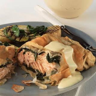 Arugula Wrapped Salmon in Filo Dough.