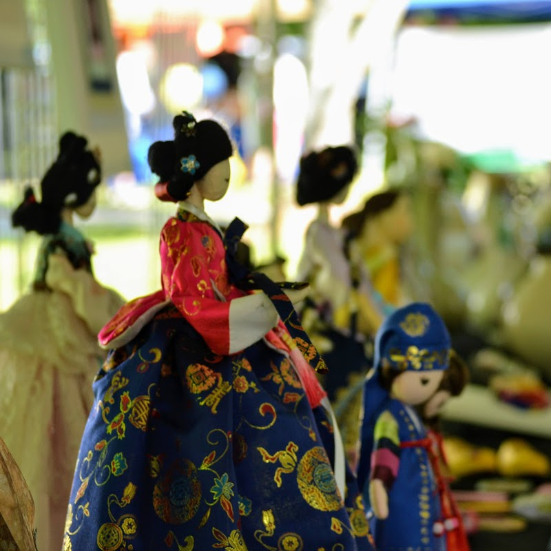 Close up image of ornate Korean doll craft on display during Korea Fest at Auburn Cityfest at Kiesel Park