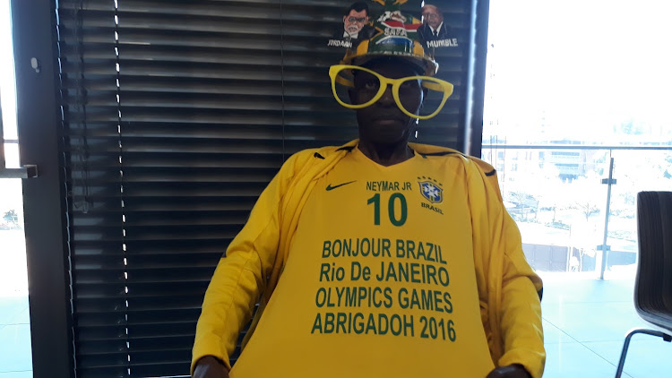 Saddam Maake displays the shirt given to him by Neymar.
