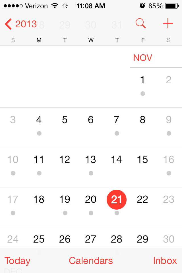 Native Mobile Apps Example of Calendar