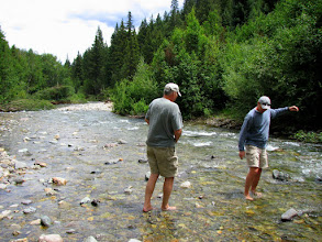 Photo: Lou & Dan just HAVE to shed their shoes and walk in the Cold Colorado Creek!