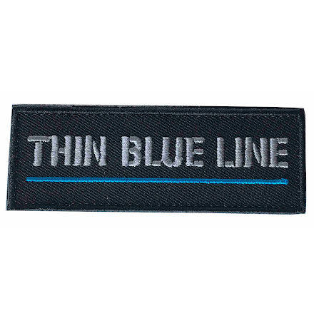 Tygmärke Thin blue line grå text