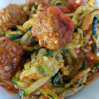 Low Carb Zucchini Spirals and Mini Meatballs.
