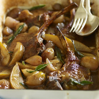 Braised Pork Chops with Shallots and Pear.