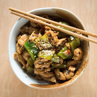 Tofu and Green Peppers in Black Bean Sauce.