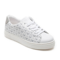 Armani Junior Logo Print Trainer LACE UP