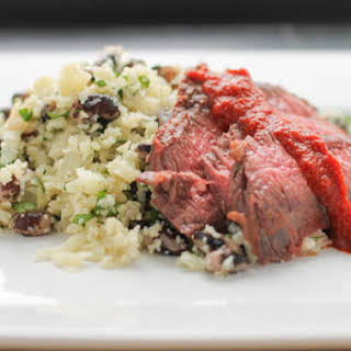 """Skirt Steak with Chipotle Sauce and Cilantro-Lime Cauliflower """"Rice"""" and Beans."""