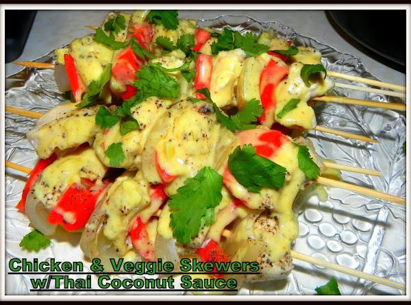 Chicken & Veggie Skewers W/thai Coconut Sauce Recipe