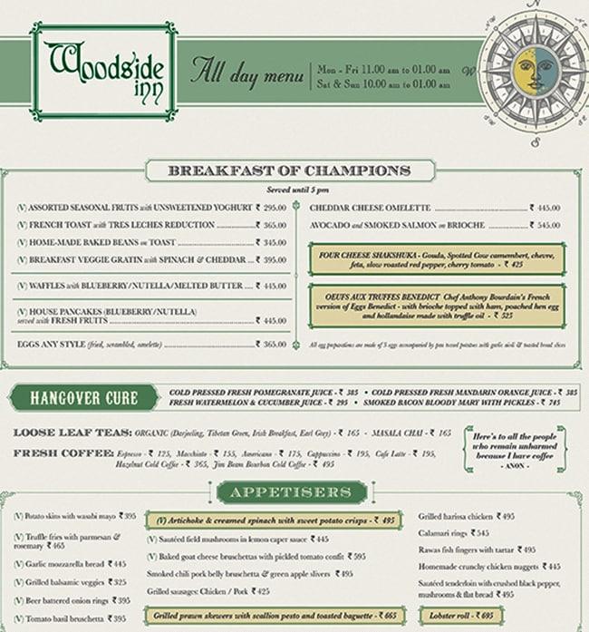 Woodside Inn menu 1