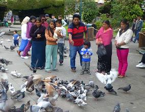 Photo: Family feeding the pigeons