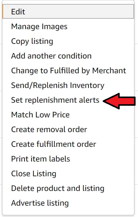 Click set replenishment alert