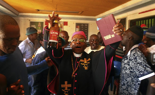 """Bishop"" Tsietsi Makiti's Gabola Church is largely scorned but he claims it does not only focus on booze but also has social projects to uplift the community. / KABELO MOKOENA"