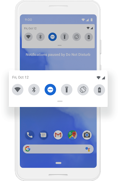 The Quick Settings screen on a Google phone  showing an icon getting tapped which hides all notifications.