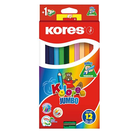 Colores Kores Jumbo Triangulares + Sacapuntas 12 Und