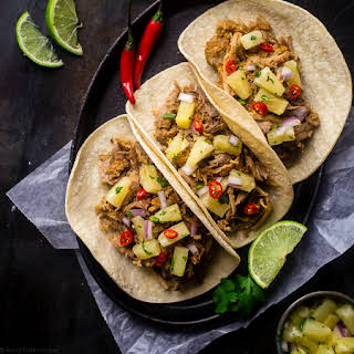 Slow Cooker Green Curry Pork Tacos with Pineapple Salsa.