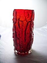 Photo: SOLD 9691 = 9 inch ruby bark vase