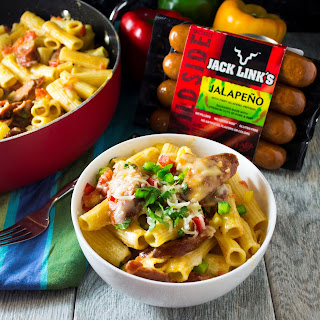 #Ad One Pot Jalapeno Sausage Pasta Skillet