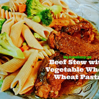 Beef Stew Served with Vegetable Whole Wheat Pasta