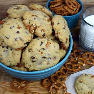 Caramel Pretzel Chocolate Cookies.