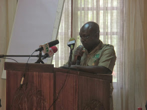 Photo: Mr Oppong Sasu giving a speech on behalf of CEO, of the Forestry Commission
