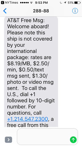 Text message about data usage.
