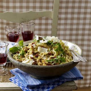 Sun-Dried Tomato and Chickpea Spaghetti.