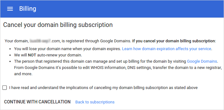 Cancel Your Domain Billing Subscription option