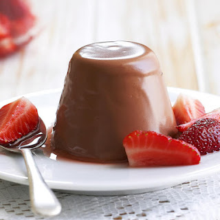 Chocolate Panna Cotta with Strawberry Topping