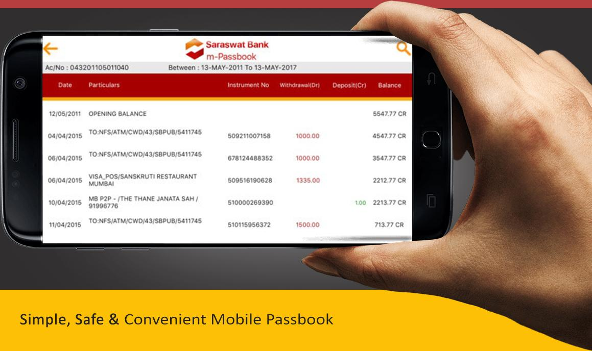 Saraswat Bank mPassbook- screenshot