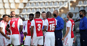 Calvin Marlin (Interim Head Coach) chats with players during the GladAfrica Championship match between Ajax Cape Town and Richards Bay at Rand Stadium on August 12, 2020 in Johannesburg, South Africa.