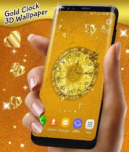 Gold 3D Analog Clock Wallpaper - náhled